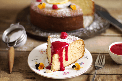 French Lemon Yogurt Cake with Raspberry Sauce